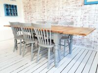 Extending Dining Table with Spindle Back Chairs Modern Rustic Farmhouse Dining Set
