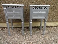 MATCHING PAIR OF BEDSIDE CABINETS --SILVER WITH CRYSTAL KNOBS ---