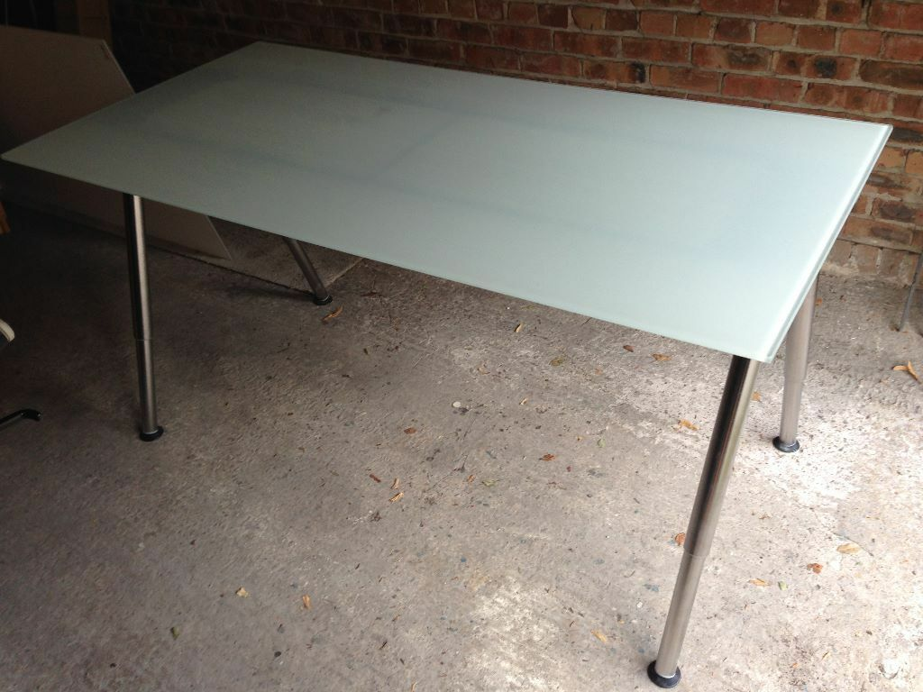 Ikea Galant White Gl Top Desk With Chrome Legs In