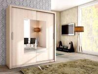 BRAND NEW High Quality 2 Sliding Door Wardrobe Oak without mirror 180cm width