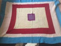 Large vintage pure wool knitted blanket