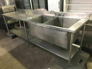 10ft heavy duty double pot / tray sink with with side table and under neath storage retails $2500! Now only $795!