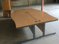 Four Beech Wave Front Rectangke Desks