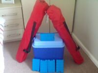 two folding camp chair & cold box