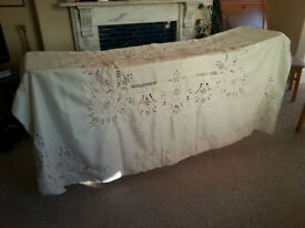 LARGE CUTOUT EMBROIDERED TABLECLOTH (NEVER USED)
