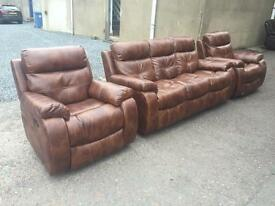 Ex-display/seconds**Belinni 3+1+1 brown leather suite - reclining chair - CALL TODAY!!!