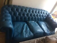 Free blue chesterfield leather sofa