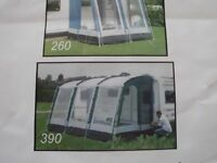 Kampa Rally Pro 390 caravan awning for sale with inner tent and monsoon poles.