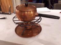 Vintage Copper Swiss Fondue Set