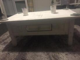 White distressed coffee table