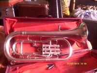"TENOR HORN in SILVER PLATE In MINT CONDITION , a "" PRO "" INSTRUMENT , BRITISH !"