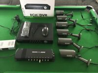 CCTV system 8 channel DVR 1TB, 6 camera's, RF modulator and distribution system