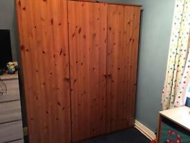 Triple Wardrobe- Antique Pine - NEEDS TO GO THIS WEEKEND!
