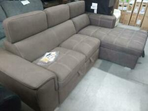 My Style Collection Tonya  Traditional 2-Piece Sectional Sofa with Pull-Out Sleeper and Right-Facing Chaise – Taupe ***