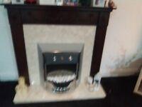 Mahogany fire surround/marble back&hearth