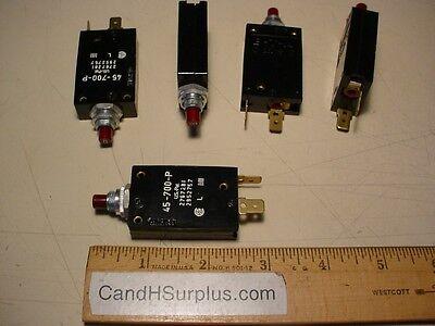 Eta 45-700-p Lot Of 5pcs Circuit Breaker 8 Amp 250 Volt Push Button Resettable