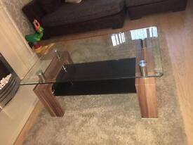 2 matching glass tables coffee/lamp table DFS Contemporary stylish black modern