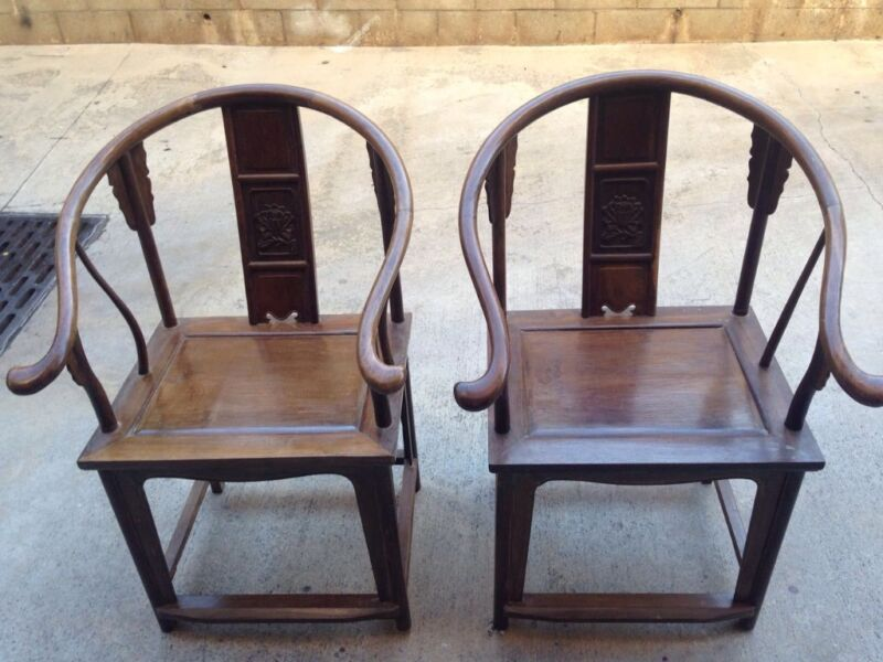 Old-Fashion Chicken-Wing Wood Chair (pair)