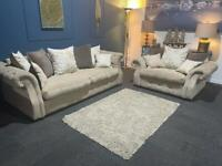 Cream plush velvet chesterfield suite 4 seater sofa and cuddle chair