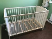 Ikea white cot with change topper
