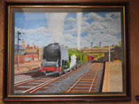 20th century large oil painting on canvas of train,framed,glazed,british artist