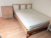 IKEA wooden bed (optional: mattress, 2 large drawers, large study desk with chair, shoe shelf )