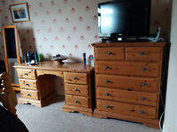 Pine Bed, Dressing Table, Chest of Drawers and Bed Side Cabinets
