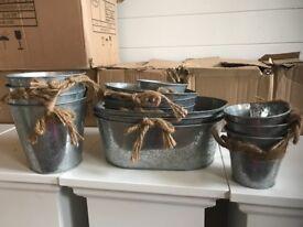 Assorted Zinc Pots - Florist clear out (job lot)