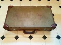 Vintage Papworth Industries Military Demob Suitcase Leather Trim