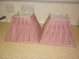 Two Pink Pleated Lampshades in Good Condition