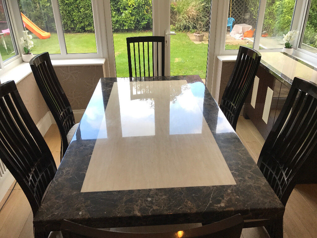 REAL Marble Table with 6 Chairs and Matching