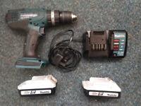 Makita Cordless Combi Hammer Drill with 2 x Batteries & Makita Charger