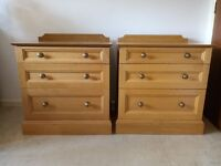 Pair Modern Solid Light Oak chest of 3 drawers Bedsides And Double Wardrobe more listed