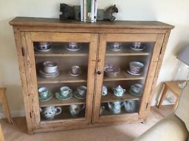 Antique Pine Bookcase or Display Cabinet