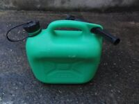 Five Litre Petrol Canister. Green with nozzles £3 each