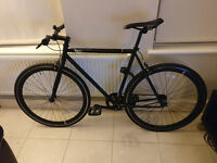 6KU Fixie & Single Speed Bike - Nebula (Black, Brick Lane Bikes) w/Free Knog Frog Light Pair