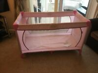 ladybird travel cot with additional mattress and bedding as new