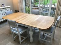 Hand painted vintage solid oak table and four reupholstered chairs in grey