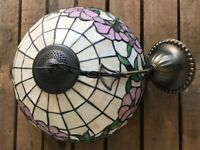 Tiffany style ceiling lamp, pink, green and white