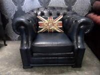 Stunning Chesterfield Hump Back Club Chair in Blue Leather - UK Delivery