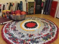 "Handmade Cotton Round Rug ""Red heart"""