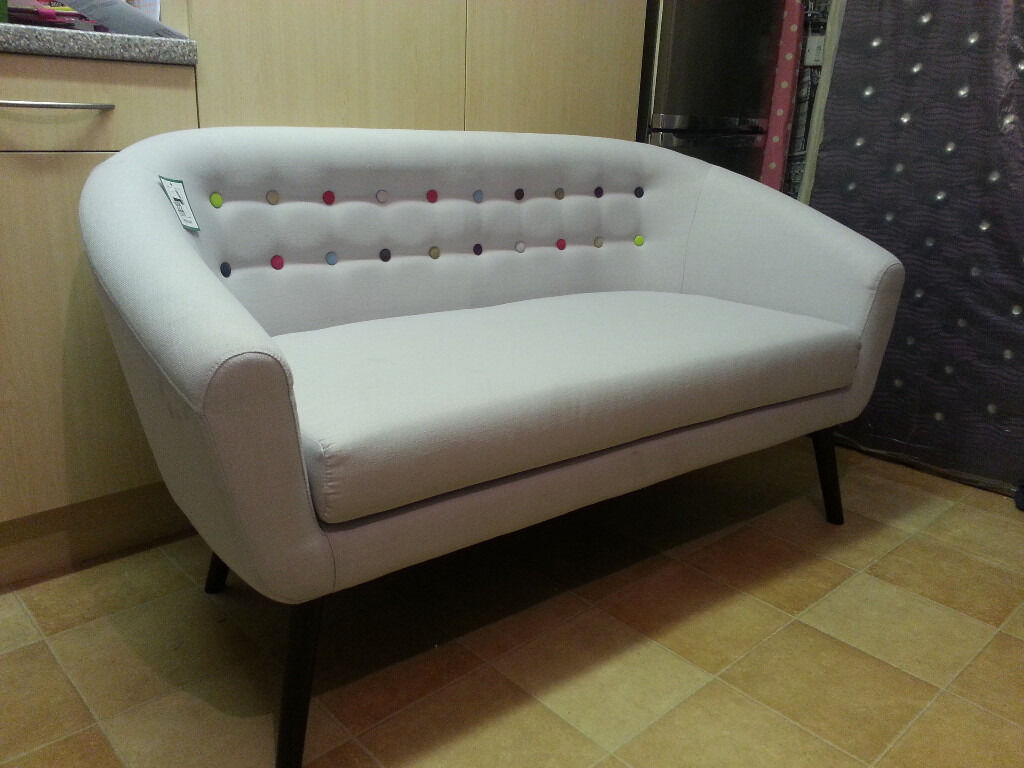 Athena 2 Seater Button Back Tub Sofa Light Grey Brand