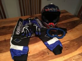 Kids brand new motorbike helmet, goggles, gloves and trousers