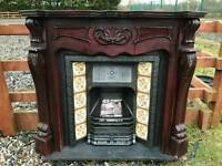 103 Cast Iron Original Fireplace Surround Fire Tiled Insert Antique Victorian c1885