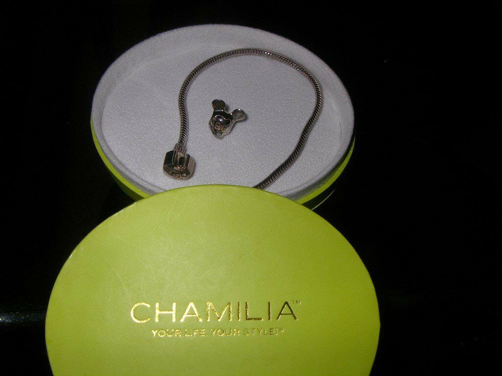 Chamilia 7.1inch Silver Snap close Charm Bracelet and Mickey Charm- Boxed