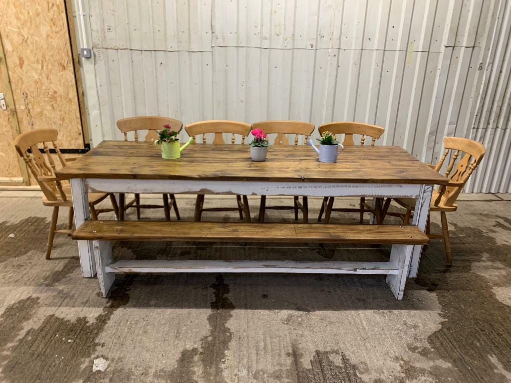 8ft Farmhouse Dining Table And 2 Benches Or Chairs Seats 10