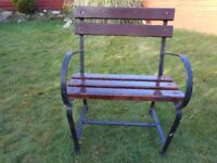 Single Seater - Handcrafted Wrought Iron and Wooden Garden Summer Seat-Made in Blackskull Donacloney