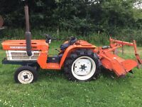 Kubota B1600 2WD Compact Tractor with 1.3 Meter Rotavator, other Attachments available, 20HP
