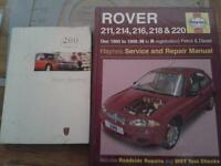haynes rover 200 series manual and owners handbook