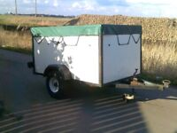 CAR TRAILER WITH COVER CAR BOOT QUAD RIDE ON TRACTOR CAMPING ALLOTMENT TIP RUNS WASTE